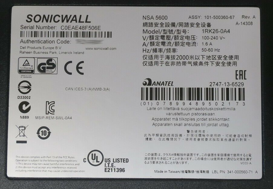 Dell SonicWALL NSA 5600 01-SSC-3833 Network Security